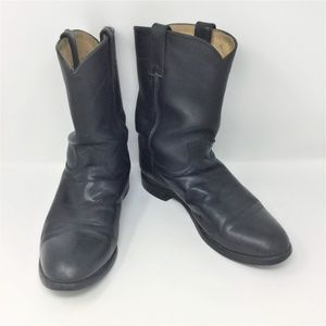 Justin Boots Black Cowboy Leather 10.5 EE